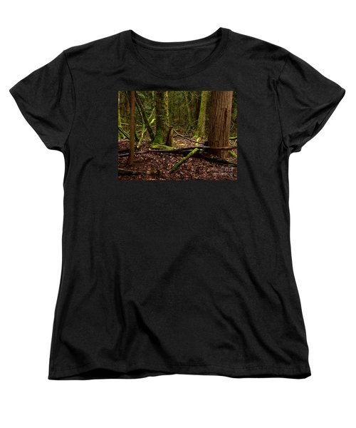 Lush Green Forest Women's T-Shirt (Standard Cut) by Mary Mikawoz