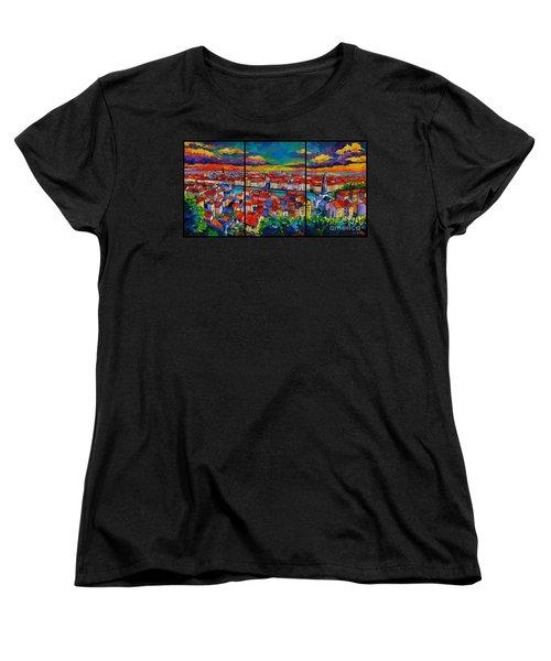 Lyon Panorama Triptych Women's T-Shirt (Standard Cut)
