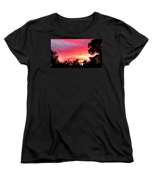 Women's T-Shirt (Standard Cut) featuring the photograph Magenta Sunset by DigiArt Diaries by Vicky B Fuller