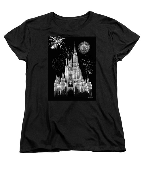 Magic Kingdom Castle In Black And White With Fireworks Walt Disney World Women's T-Shirt (Standard Cut) by Thomas Woolworth