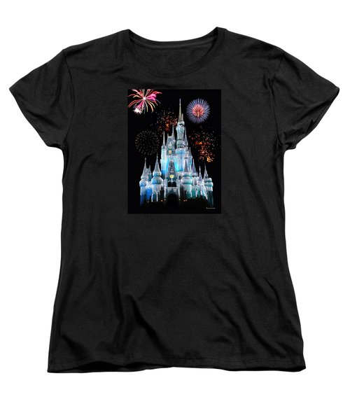 Magic Kingdom Castle In Frosty Light Blue With Fireworks 06 Women's T-Shirt (Standard Cut) by Thomas Woolworth
