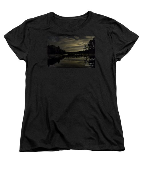 Maine Beaver Pond At Night Women's T-Shirt (Standard Cut) by Patrick Fennell