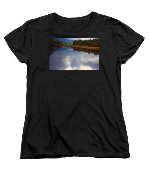 Women's T-Shirt (Standard Cut) featuring the photograph Mallard Duck On Lake In Adirondack Mountains In Autumn by Jerry Cowart