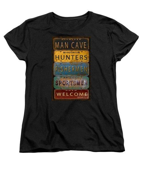 Man Cave-license Plate Art Women's T-Shirt (Standard Cut) by Jean Plout