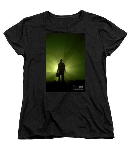 Women's T-Shirt (Standard Cut) featuring the photograph Man In Light Beams by Lee Avison