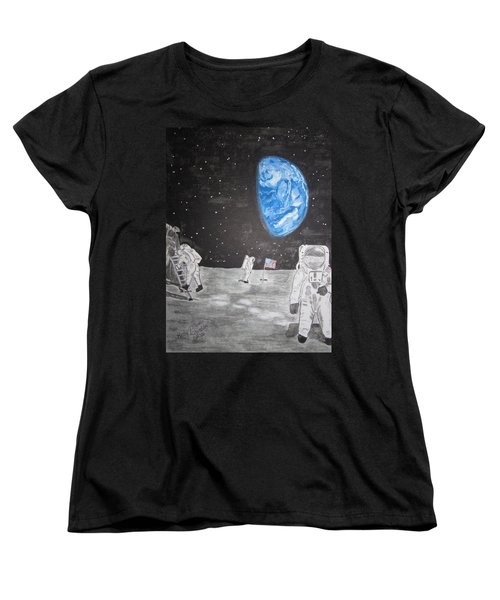 Man On The Moon Women's T-Shirt (Standard Cut) by Kathy Marrs Chandler