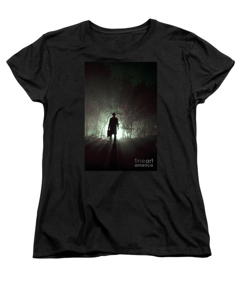 Women's T-Shirt (Standard Cut) featuring the photograph Man Waiting In Fog With Case by Lee Avison