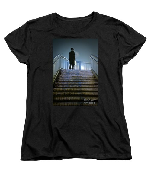 Women's T-Shirt (Standard Cut) featuring the photograph Man With Case At Night On Stairs by Lee Avison