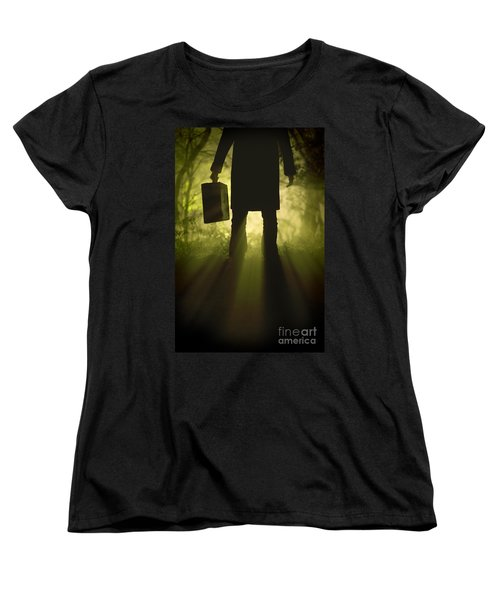 Women's T-Shirt (Standard Cut) featuring the photograph Man With Case In Fog by Lee Avison