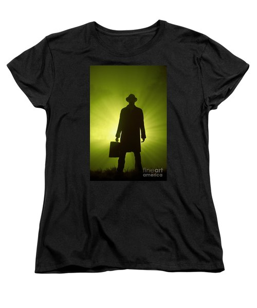 Women's T-Shirt (Standard Cut) featuring the photograph Man With Case In Green Light by Lee Avison