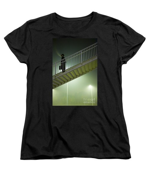 Women's T-Shirt (Standard Cut) featuring the photograph Man With Case On Steps Nighttime by Lee Avison