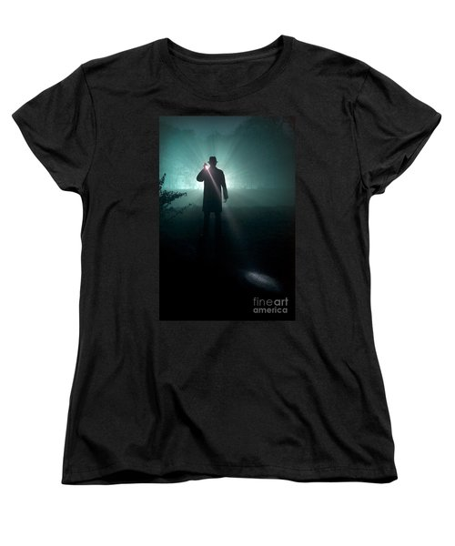 Women's T-Shirt (Standard Cut) featuring the photograph Man With Flashlight  by Lee Avison