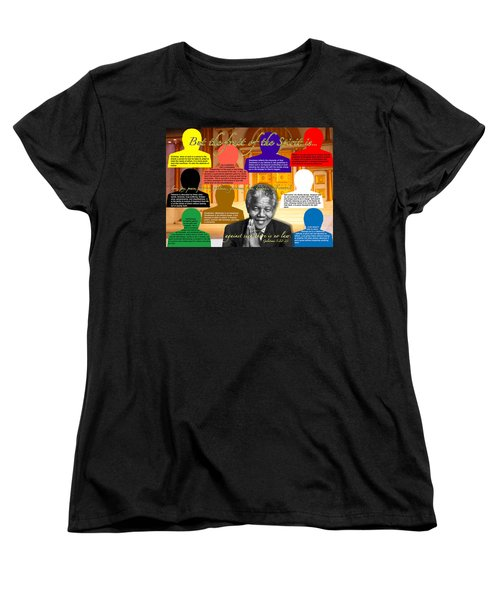 Mandela's Rainbow With Scripture Women's T-Shirt (Standard Cut) by Terry Wallace