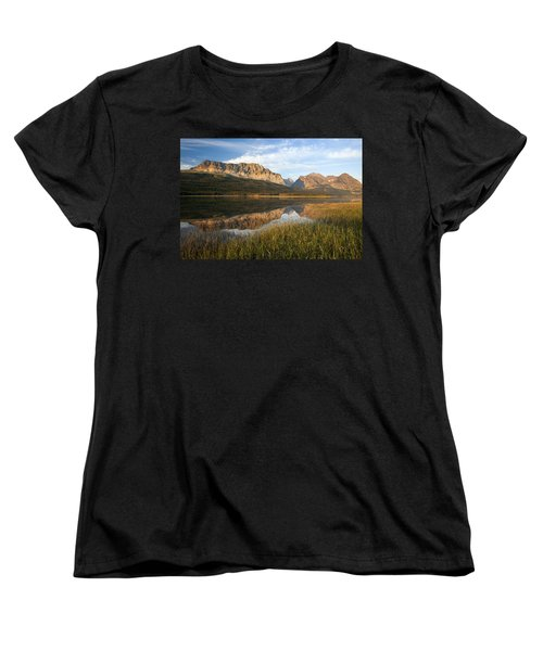Women's T-Shirt (Standard Cut) featuring the photograph Many Glacier Reflections by Jack Bell