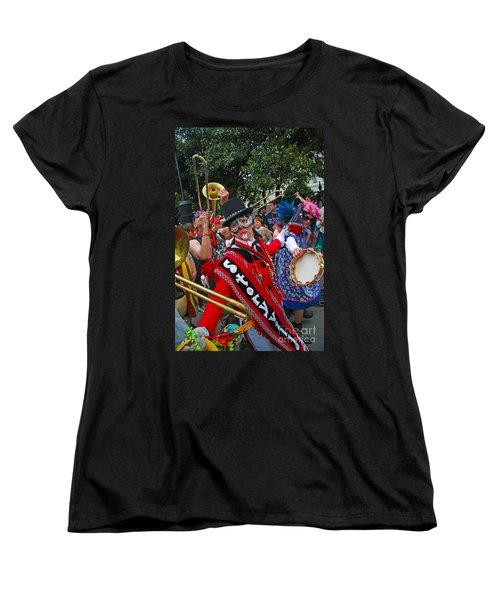 Women's T-Shirt (Standard Cut) featuring the photograph Mardi Gras Storyville Marching Group by Luana K Perez