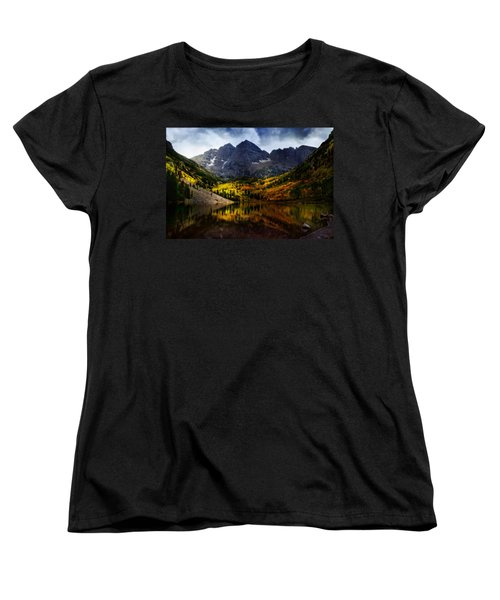 Women's T-Shirt (Standard Cut) featuring the photograph Maroon Bells - An American Icon by Ellen Heaverlo