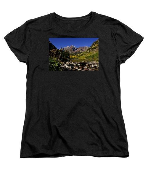 Women's T-Shirt (Standard Cut) featuring the photograph Maroon Bells by Jeremy Rhoades