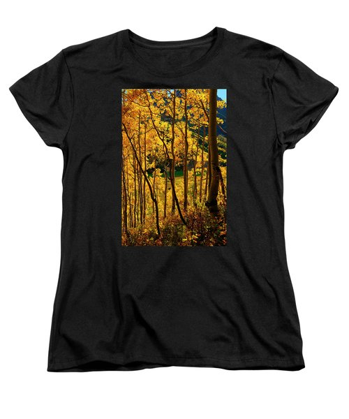 Maroon Lake Gold Women's T-Shirt (Standard Cut) by Jeremy Rhoades