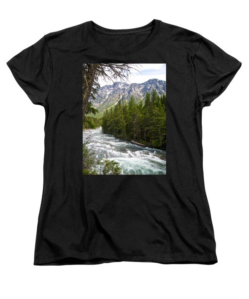 Mcdonald Creek In Glacier Np-mt Women's T-Shirt (Standard Cut) by Ruth Hager