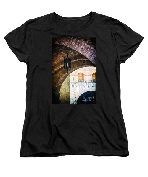 Women's T-Shirt (Standard Cut) featuring the photograph Medieval Arches With Lamp by Silvia Ganora