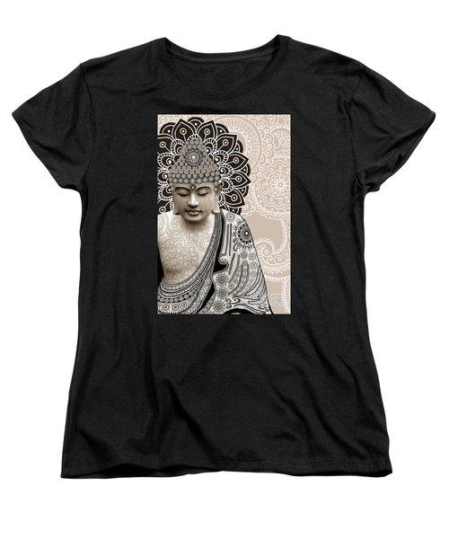 Meditation Mehndi - Paisley Buddha Artwork - Copyrighted Women's T-Shirt (Standard Cut) by Christopher Beikmann