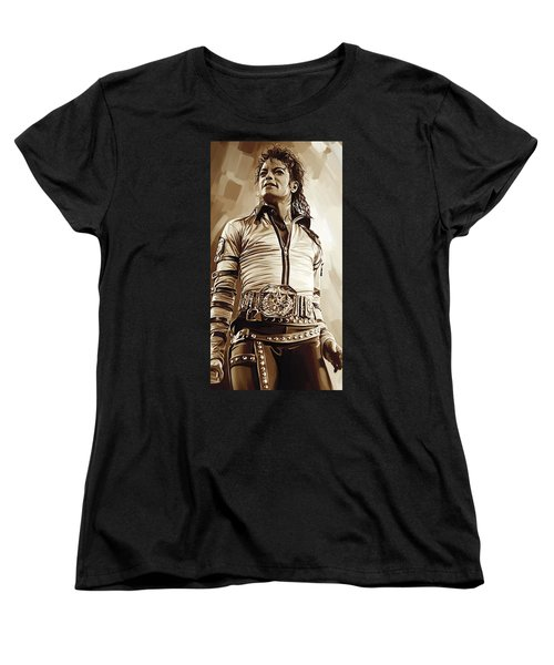 Michael Jackson Artwork 2 Women's T-Shirt (Standard Cut) by Sheraz A