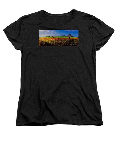 Women's T-Shirt (Standard Cut) featuring the photograph Michigan Uper  Farm Barn And Rolls Of Hay Brimly Michigan by Tom Jelen