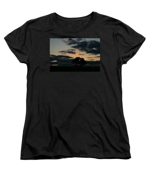 Women's T-Shirt (Standard Cut) featuring the photograph Farm Pasture Midnight Sun  by Neal Eslinger