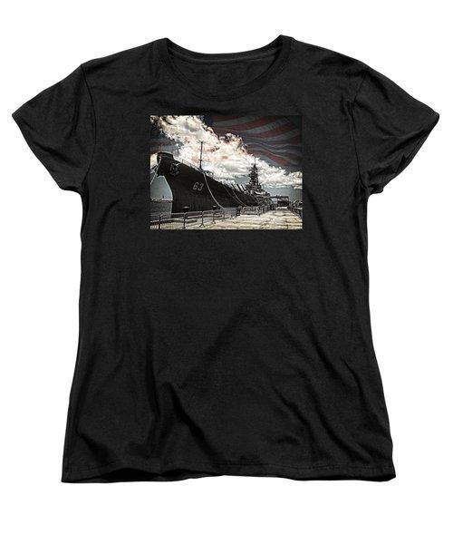 Mighty Mo U.s.s. Missouri Women's T-Shirt (Standard Cut) by Ken Smith