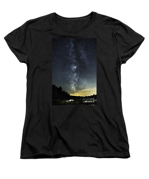 Milky Way Over Beaver Pond In Phippsburg Maine 2 Women's T-Shirt (Standard Cut) by Patrick Fennell