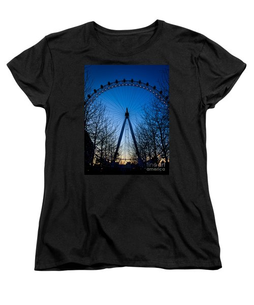 Women's T-Shirt (Standard Cut) featuring the photograph Millennium Eye London At Twilight by Peta Thames