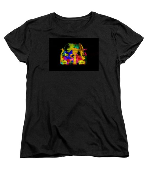 Mini Cooper Colorful Abstract On Black Women's T-Shirt (Standard Cut) by Eti Reid