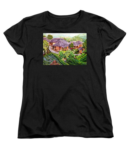 Women's T-Shirt (Standard Cut) featuring the painting Mini Paradise by Belinda Low