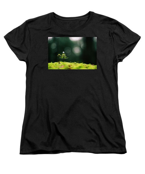 Miniature Christmas Tree Women's T-Shirt (Standard Cut) by Cathie Douglas
