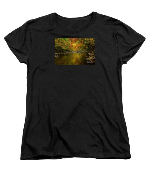 Women's T-Shirt (Standard Cut) featuring the photograph Mirror Fall Stream In The Mountains by Debbie Green