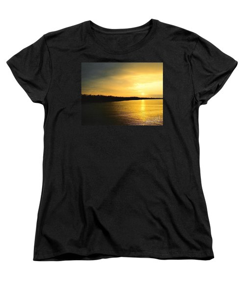 Women's T-Shirt (Standard Cut) featuring the photograph Sunrise Over The Mississippi River Post Hurricane Katrina Chalmette Louisiana Usa by Michael Hoard