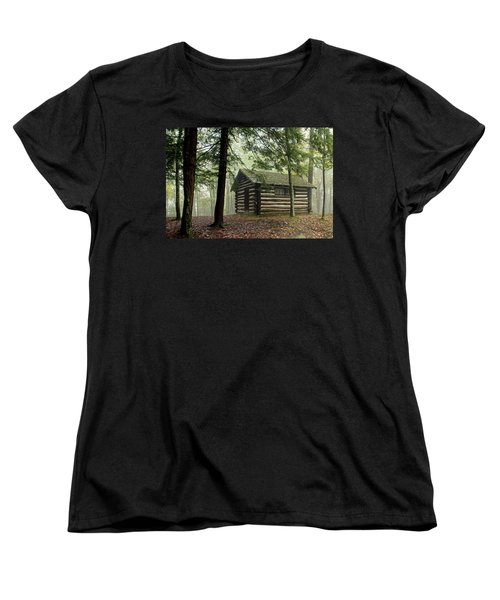Misty Morning Cabin Women's T-Shirt (Standard Cut) by Suzanne Stout