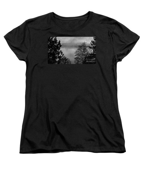 Misty Morning Sunrise Black And White Art Prints Women's T-Shirt (Standard Cut) by Valerie Garner