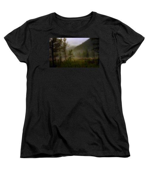 Women's T-Shirt (Standard Cut) featuring the photograph Misty Mountain by Ellen Heaverlo