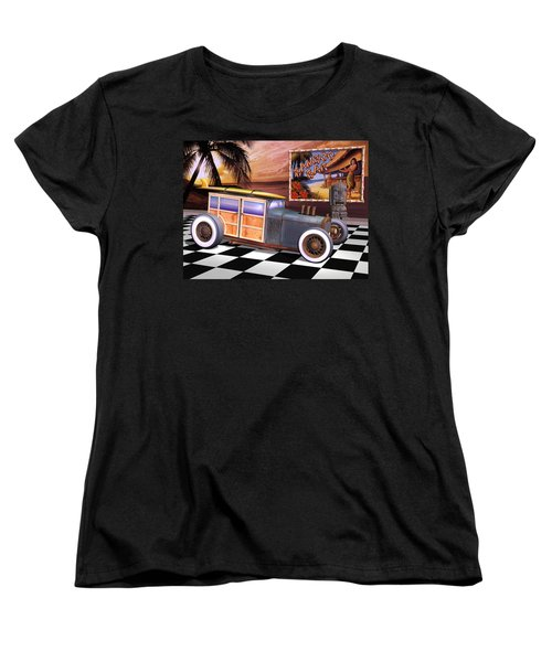 Model T Surf Woody Women's T-Shirt (Standard Cut) by Stuart Swartz
