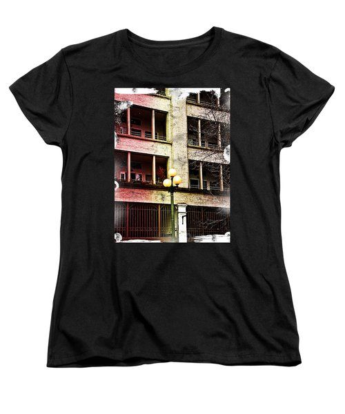 Women's T-Shirt (Standard Cut) featuring the digital art Modern Grungy City Building  by Valerie Garner