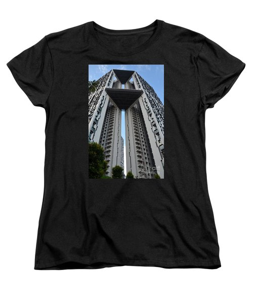 Women's T-Shirt (Standard Cut) featuring the photograph Modern Skyscraper Apartment Building Singapore by Imran Ahmed