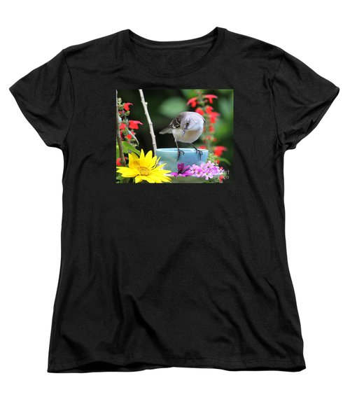 Mockingbird And Teacup Photo Women's T-Shirt (Standard Cut) by Luana K Perez