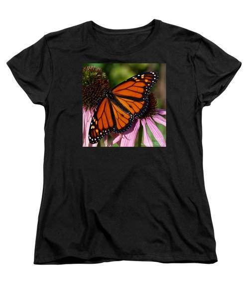 Women's T-Shirt (Standard Cut) featuring the photograph Monarch On Purple Coneflower by Barbara McMahon