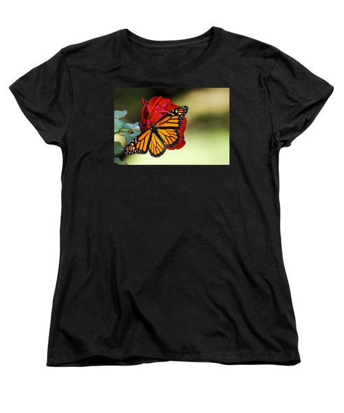 Monarch On Rose Women's T-Shirt (Standard Cut) by Debbie Karnes