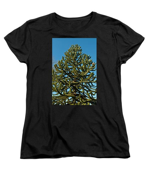 Monkey Puzzle Tree E Women's T-Shirt (Standard Cut) by Tikvah's Hope