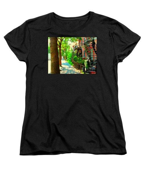 Montreal Art Colorful Winding Staircase Scenes Tree Lined Streets Of Verdun Art By Carole Spandau Women's T-Shirt (Standard Cut) by Carole Spandau