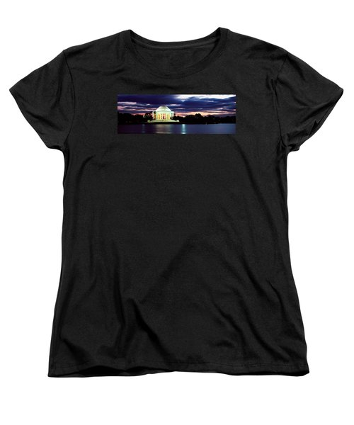 Monument Lit Up At Dusk, Jefferson Women's T-Shirt (Standard Cut) by Panoramic Images