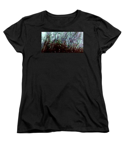 Women's T-Shirt (Standard Cut) featuring the photograph Moody Blues Rain On The Window Series 2 Abstract Photo by Marianne Dow