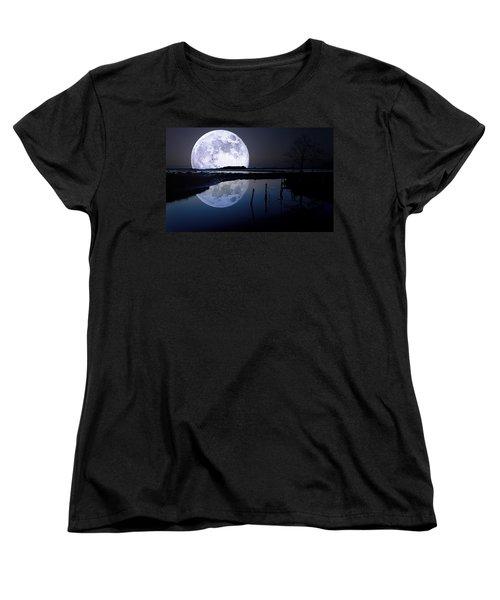 Moon At Night Women's T-Shirt (Standard Cut) by Gianfranco Weiss